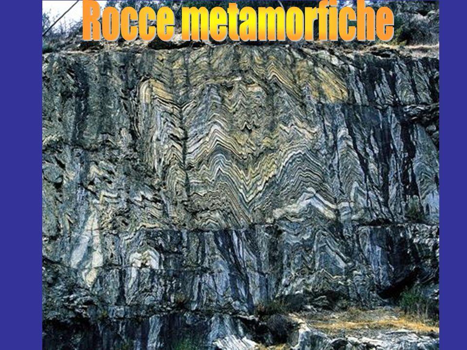 Rocce Metamorfiche Qualsiasi roccia (sedimentaria, vulcanica, plutonica, metamorfica) che ha subito cambiamenti di struttura o composizione mineralogica allo stato solido.