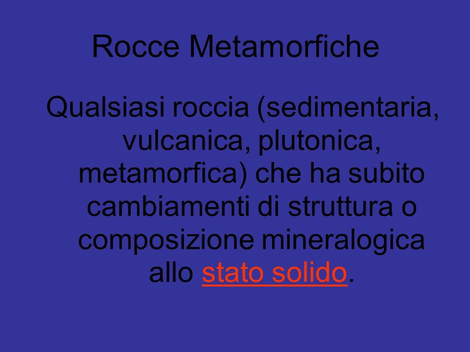 Rocce Metamorfiche Qualsiasi roccia (sedimentaria, vulcanica, plutonica, metamorfica) che ha subito cambiamenti di struttura o composizione mineralogi