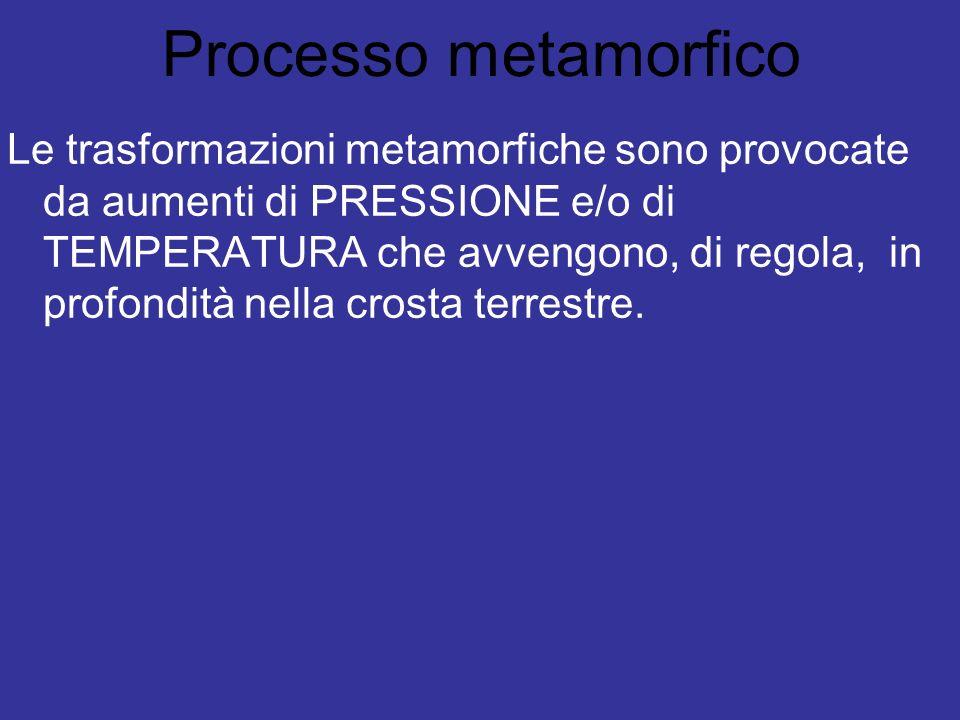 Processo metamorfico Le trasformazioni metamorfiche sono provocate da aumenti di PRESSIONE e/o di TEMPERATURA che avvengono, di regola, in profondità