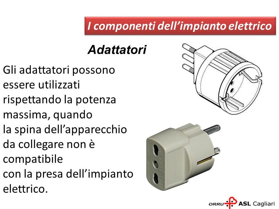 Adattatori I componenti dellimpianto elettrico Gli adattatori possono essere utilizzati rispettando la potenza massima, quando la spina dellapparecchi