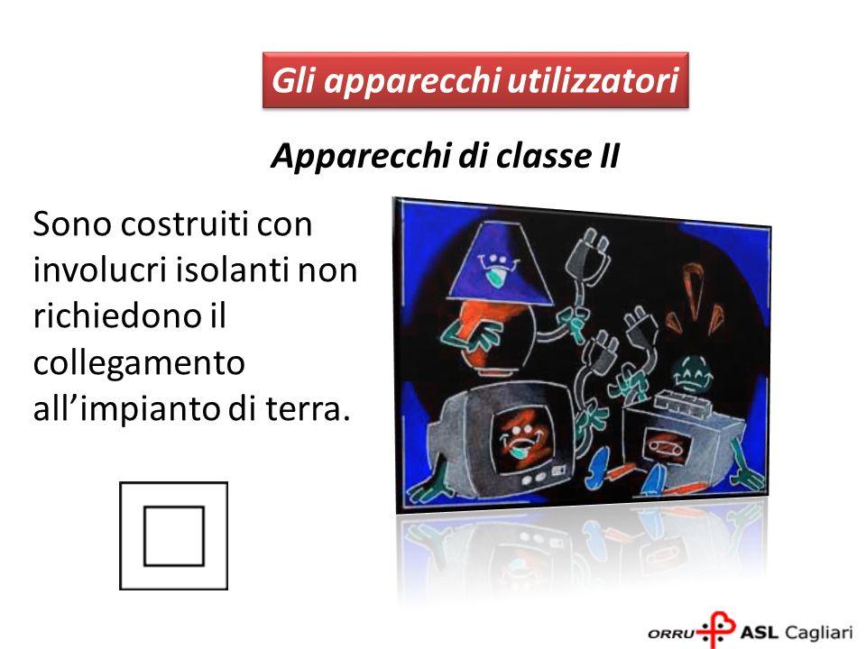 Apparecchi di classe II Gli apparecchi utilizzatori Sono costruiti con involucri isolanti non richiedono il collegamento allimpianto di terra.