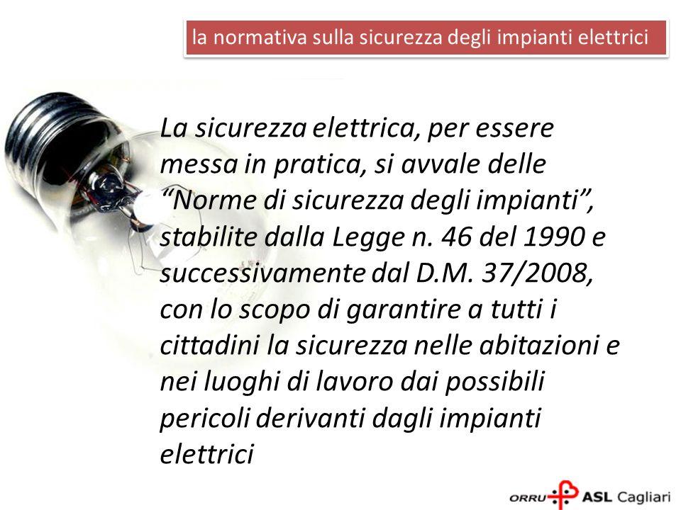 La sicurezza elettrica, per essere messa in pratica, si avvale delle Norme di sicurezza degli impianti, stabilite dalla Legge n. 46 del 1990 e success