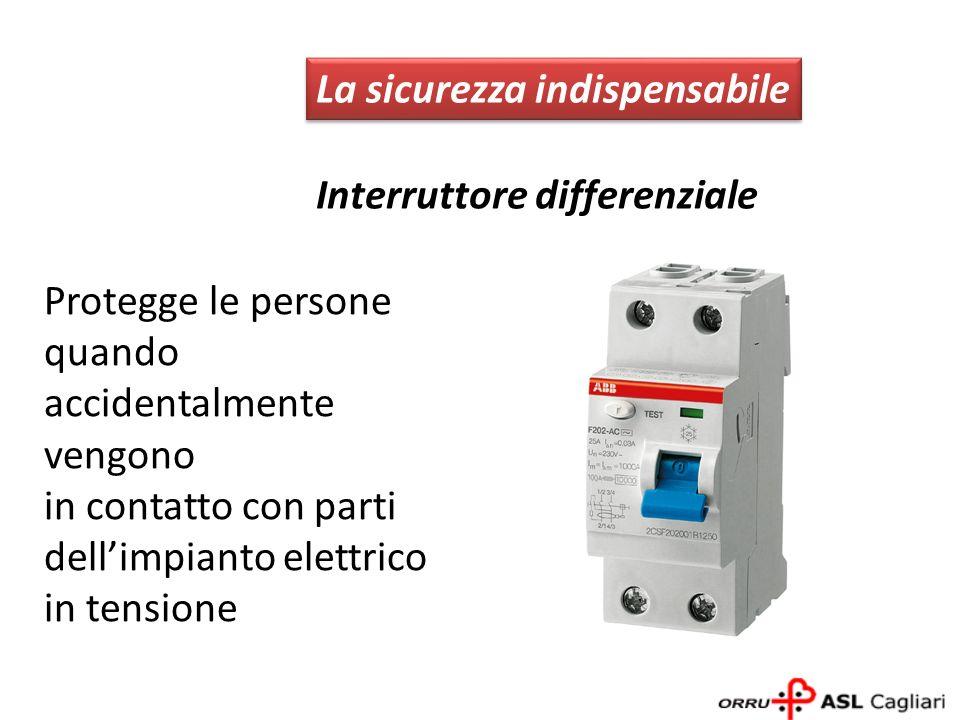 La sicurezza indispensabile Interruttore differenziale Protegge le persone quando accidentalmente vengono in contatto con parti dellimpianto elettrico