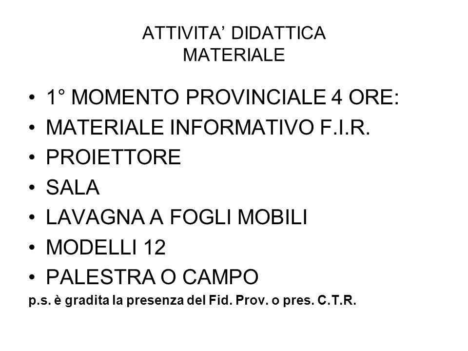 ATTIVITA DIDATTICA MATERIALE 1° MOMENTO PROVINCIALE 4 ORE: MATERIALE INFORMATIVO F.I.R.