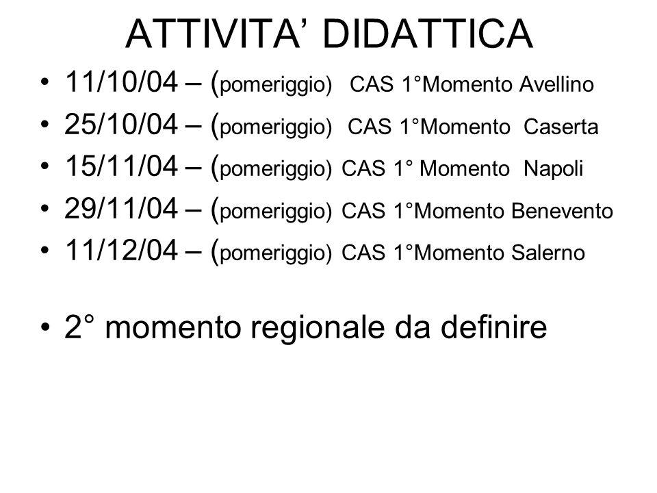 ATTIVITA DIDATTICA 11/10/04 – ( pomeriggio) CAS 1°Momento Avellino 25/10/04 – ( pomeriggio) CAS 1°Momento Caserta 15/11/04 – ( pomeriggio) CAS 1° Momento Napoli 29/11/04 – ( pomeriggio) CAS 1°Momento Benevento 11/12/04 – ( pomeriggio) CAS 1°Momento Salerno 2° momento regionale da definire