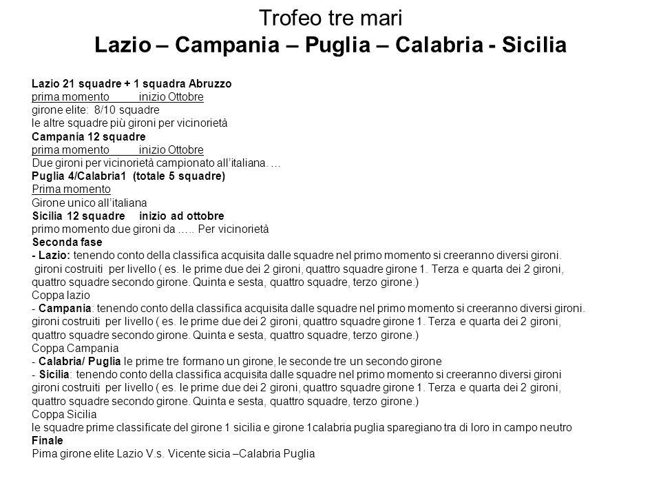 Trofeo tre mari Lazio – Campania – Puglia – Calabria - Sicilia Lazio 21 squadre + 1 squadra Abruzzo prima momentoinizio Ottobre girone elite: 8/10 squadre le altre squadre più gironi per vicinorietà Campania 12 squadre prima momento inizio Ottobre Due gironi per vicinorietà campionato allitaliana.