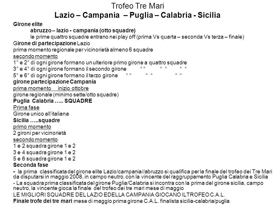 Trofeo Tre Mari Lazio – Campania – Puglia – Calabria - Sicilia Girone elite abruzzo – lazio - campania (otto squadre) le prime quattro squadre entrano nei play off (prima Vs quarta – seconda Vs terza – finale) Girone di partecipazione Lazio prima momento regionale per vicinorietà almeno 6 squadre secondo momento 1° e 2° di ogni girone formano un ulteriore primo girone a quattro squadre 3° e 4° di ogni girone formano il secondo girone 5° e 6° di ogni girone formano il terzo girone girone partecipazione Campania prima momento inizio ottobre girone regionale (minimo sette/otto squadre) Puglia Calabria …..
