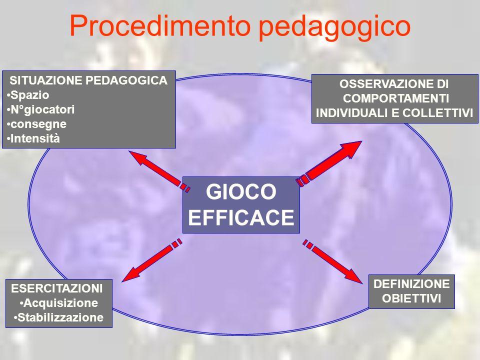 Procedimento pedagogico GIOCO EFFICACE OSSERVAZIONE DI COMPORTAMENTI INDIVIDUALI E COLLETTIVI DEFINIZIONE OBIETTIVI ESERCITAZIONI Acquisizione Stabili
