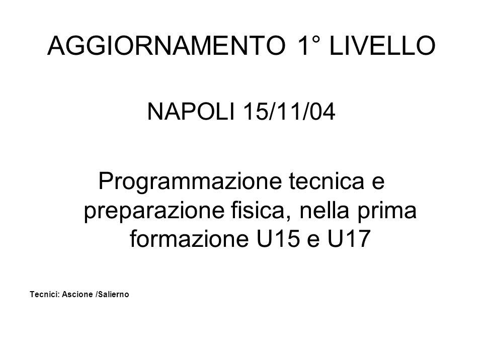 AGGIORNAMENTO 1° LIVELLO NAPOLI 15/11/04 Programmazione tecnica e preparazione fisica, nella prima formazione U15 e U17 Tecnici: Ascione /Salierno