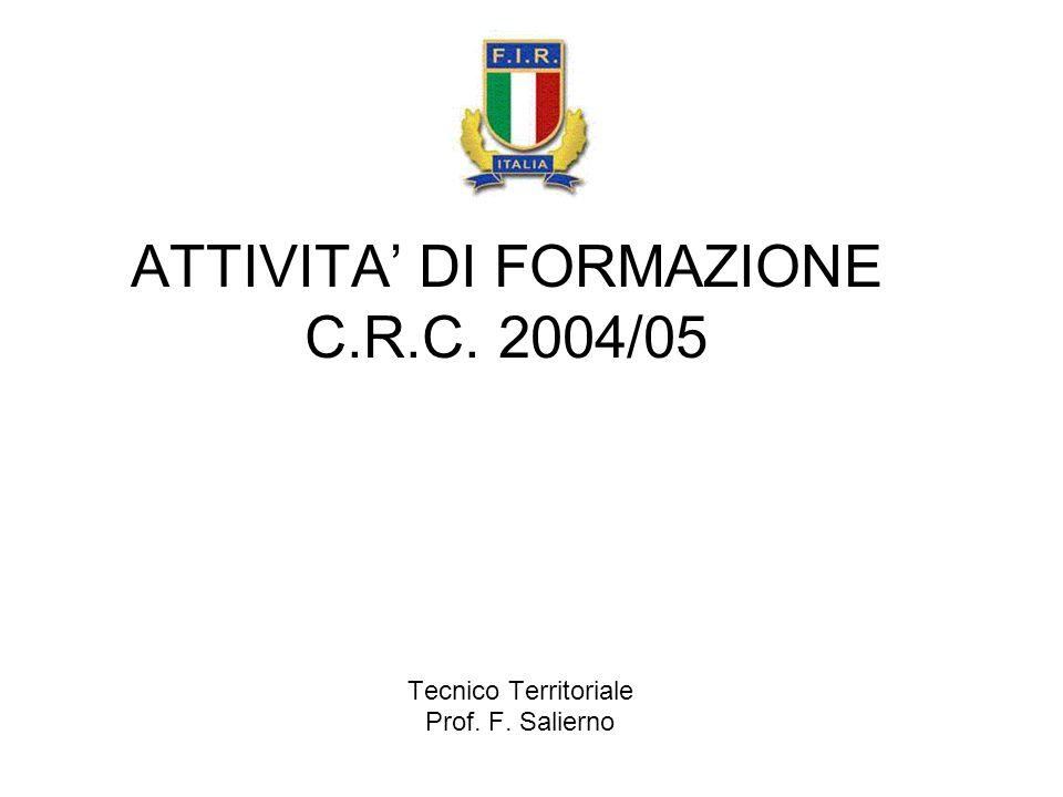 ATTIVITA DI FORMAZIONE C.R.C. 2004/05 Tecnico Territoriale Prof. F. Salierno