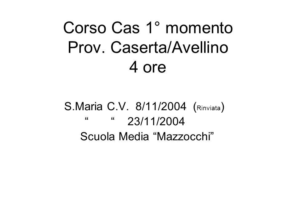 Corso Cas 1° momento Prov. Caserta/Avellino 4 ore S.Maria C.V. 8/11/2004 ( Rinviata ) 23/11/2004 Scuola Media Mazzocchi