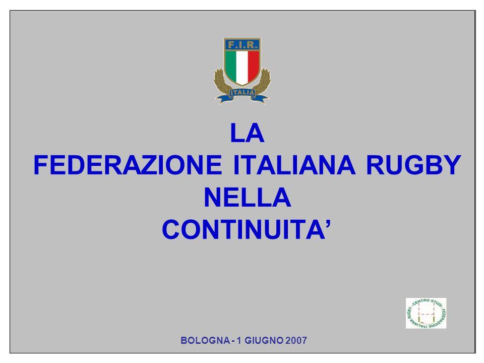 LA FEDERAZIONE ITALIANA RUGBY NELLA CONTINUITA BOLOGNA - 1 GIUGNO 2007