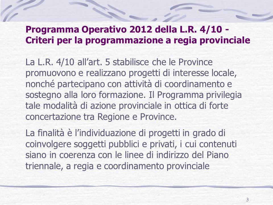 3 Programma Operativo 2012 della L.R.