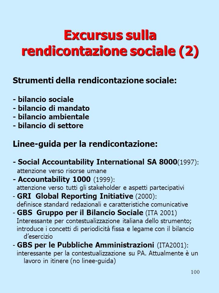 100 Excursus sulla rendicontazione sociale (2) Strumenti della rendicontazione sociale: - bilancio sociale - bilancio di mandato - bilancio ambientale