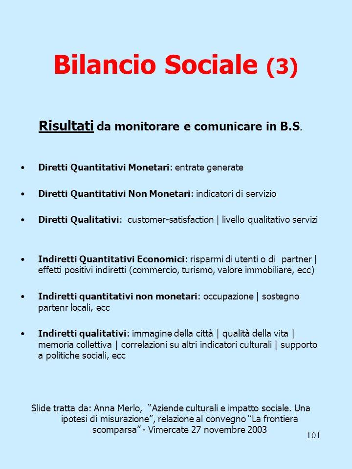 101 Bilancio Sociale (3) Risultati da monitorare e comunicare in B.S. Diretti Quantitativi Monetari: entrate generate Diretti Quantitativi Non Monetar