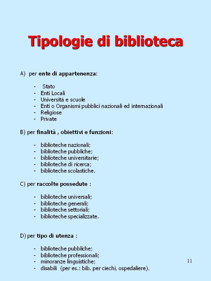 11 Tipologie di biblioteca