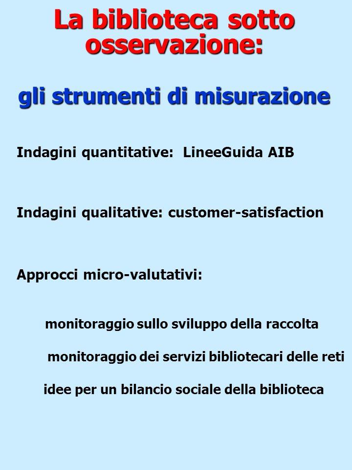 La biblioteca sotto osservazione: gli strumenti di misurazione Indagini quantitative: LineeGuida AIB Indagini qualitative: customer-satisfaction Appro