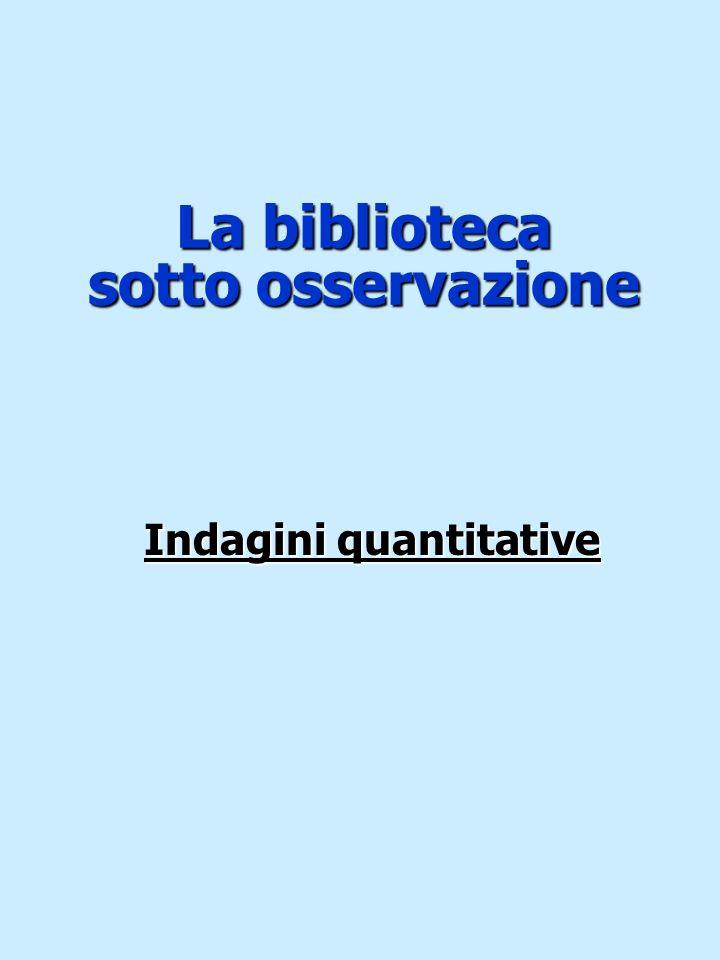 La biblioteca sotto osservazione Indagini quantitative