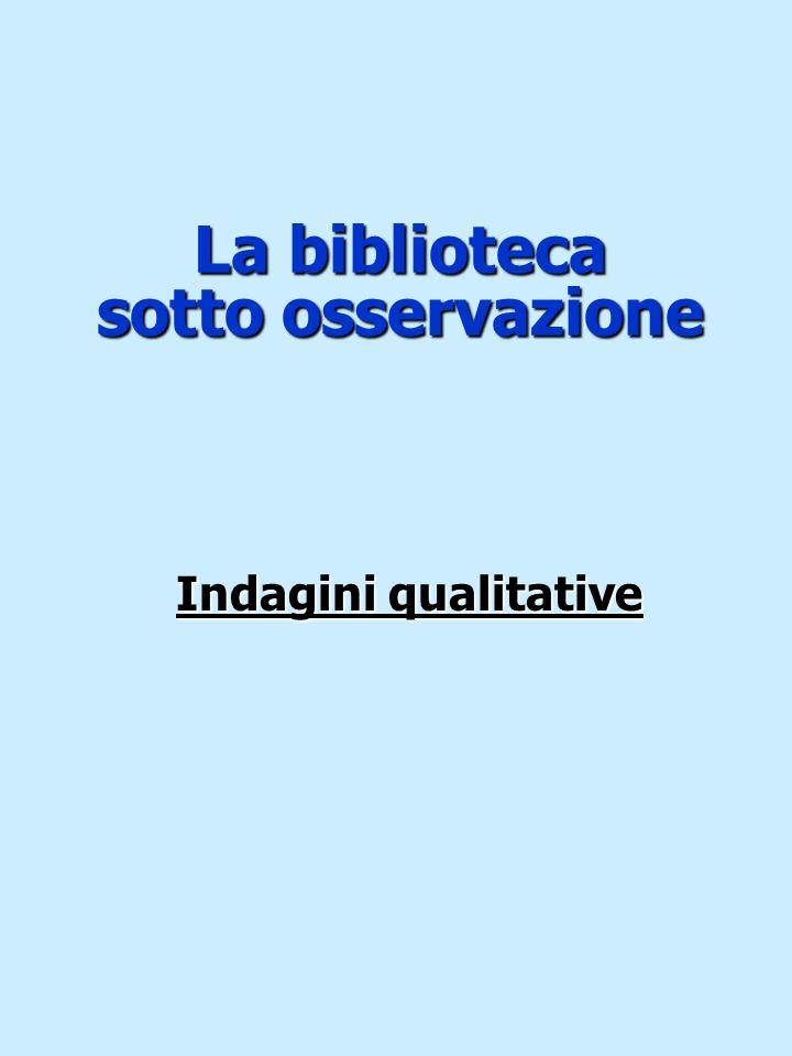 La biblioteca sotto osservazione Indagini qualitative