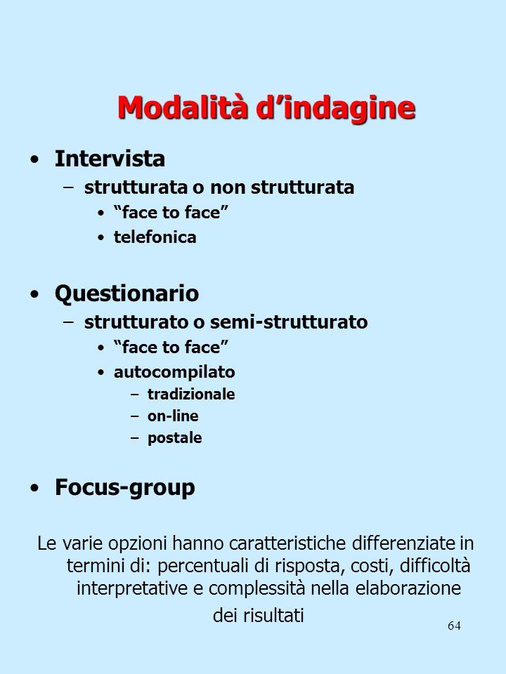 64 Modalità dindagine Intervista –strutturata o non strutturata face to face telefonica Questionario –strutturato o semi-strutturato face to face auto