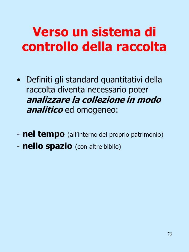 73 Verso un sistema di controllo della raccolta Definiti gli standard quantitativi della raccolta diventa necessario poter analizzare la collezione in
