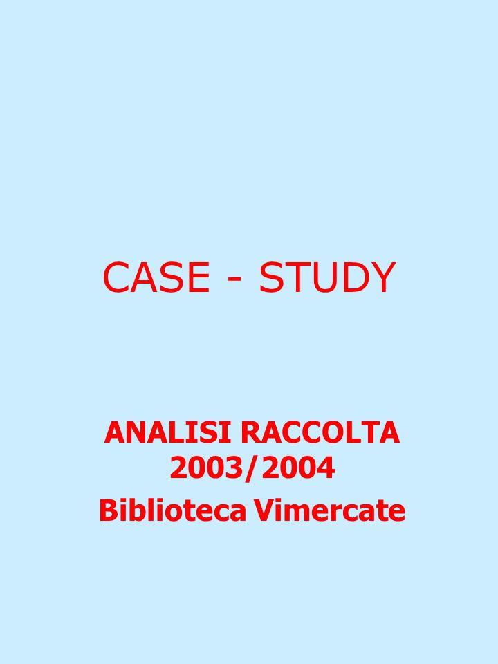 CASE - STUDY ANALISI RACCOLTA 2003/2004 Biblioteca Vimercate