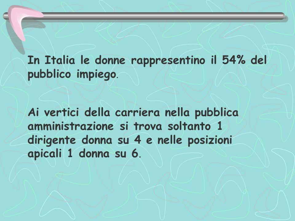 In Italia le donne rappresentino il 54% del pubblico impiego.