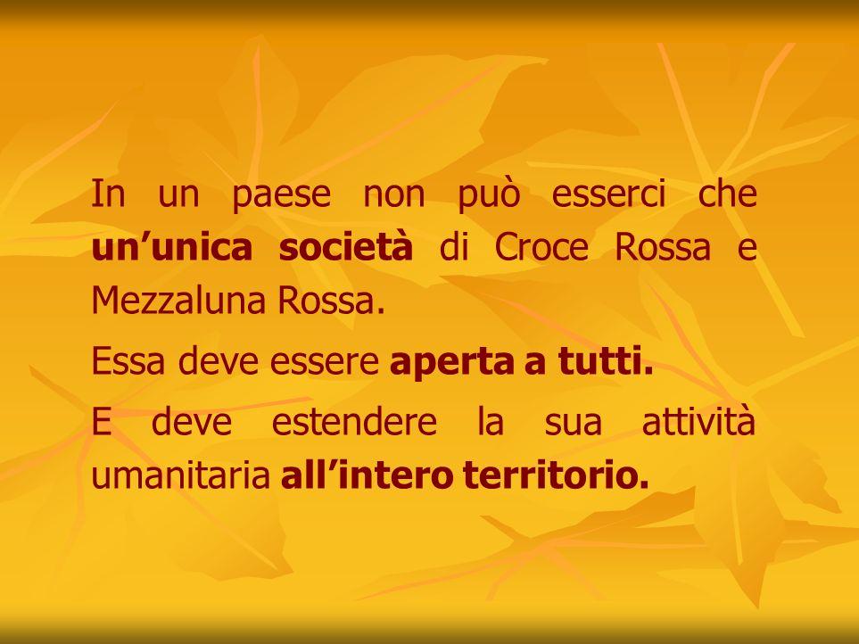 In un paese non può esserci che ununica società di Croce Rossa e Mezzaluna Rossa.