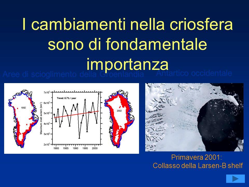 Primavera 2001: Collasso della Larsen-B shelf I cambiamenti nella criosfera sono di fondamentale importanza Aree di scioglimento della Groenlandia Antartico occidentale
