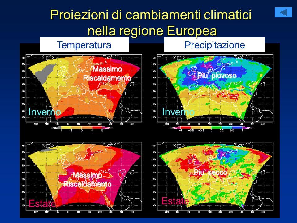 TemperaturaPrecipitazione Proiezioni di cambiamenti climatici nella regione Europea Inverno Estate Inverno Estate MassimoRiscaldamento Piu piovoso Piu