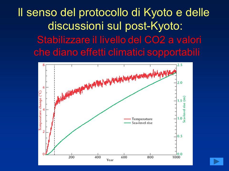 Il senso del protocollo di Kyoto e delle discussioni sul post-Kyoto: Stabilizzare il livello del CO2 a valori che diano effetti climatici sopportabili