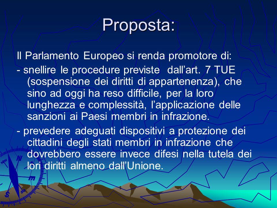 Proposta: Il Parlamento Europeo si renda promotore di: - snellire le procedure previste dallart. 7 TUE (sospensione dei diritti di appartenenza), che