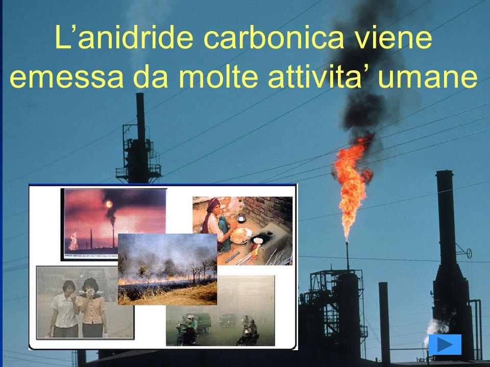 Lanidride carbonica viene emessa da molte attivita umane