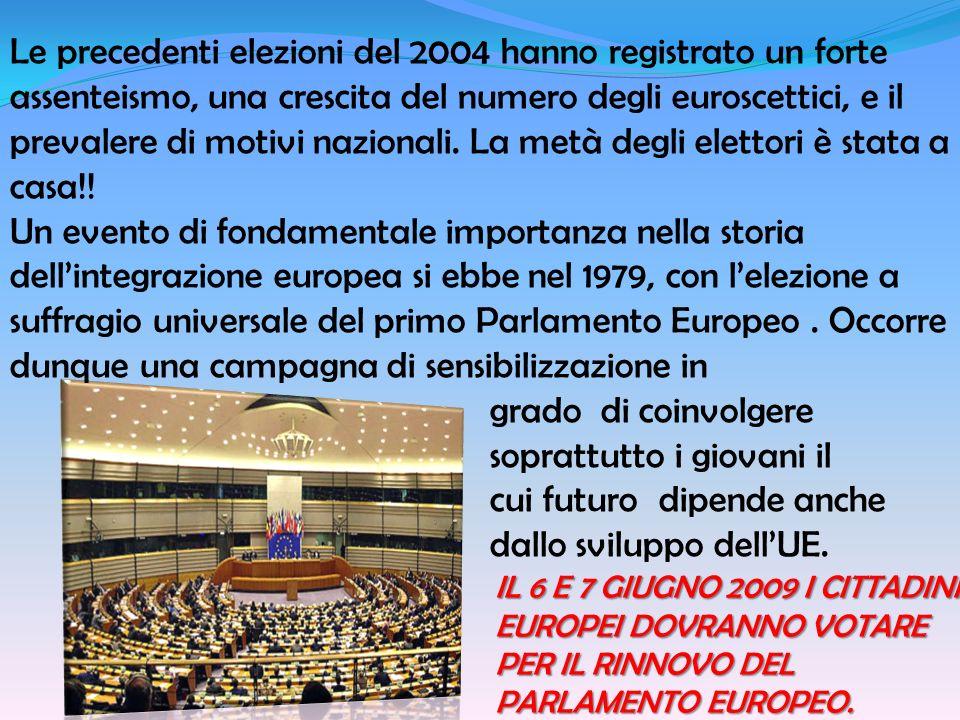 IL 6 E 7 GIUGNO 2009 I CITTADINI EUROPEI DOVRANNO VOTARE PER IL RINNOVO DEL PARLAMENTO EUROPEO. Le precedenti elezioni del 2004 hanno registrato un fo