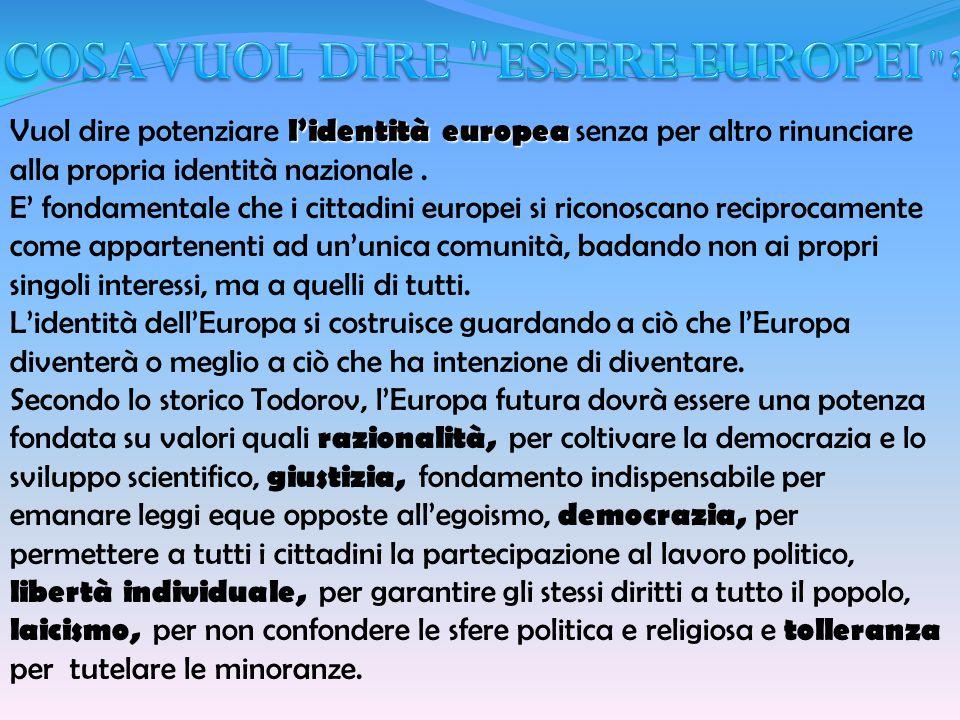 lidentità europea Vuol dire potenziare lidentità europea senza per altro rinunciare alla propria identità nazionale. E fondamentale che i cittadini eu