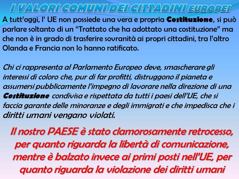 A tuttoggi, l UE non possiede una vera e propria Costituzione, si può parlare soltanto di un Trattato che ha adottato una costituzione ma che non è in