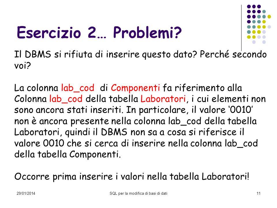 29/01/2014SQL per la modifica di basi di dati11 Esercizio 2… Problemi? Il DBMS si rifiuta di inserire questo dato? Perché secondo voi? La colonna lab_