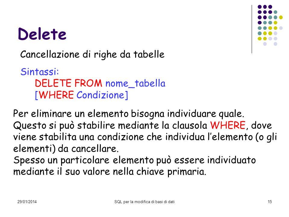 29/01/2014SQL per la modifica di basi di dati15 Delete Cancellazione di righe da tabelle Sintassi: DELETE FROM nome_tabella [WHERE Condizione] Per eliminare un elemento bisogna individuare quale.
