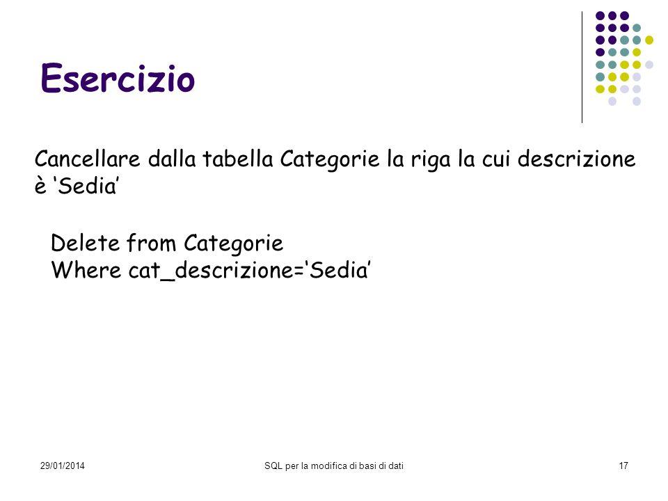 29/01/2014SQL per la modifica di basi di dati17 Esercizio Cancellare dalla tabella Categorie la riga la cui descrizione è Sedia Delete from Categorie Where cat_descrizione=Sedia