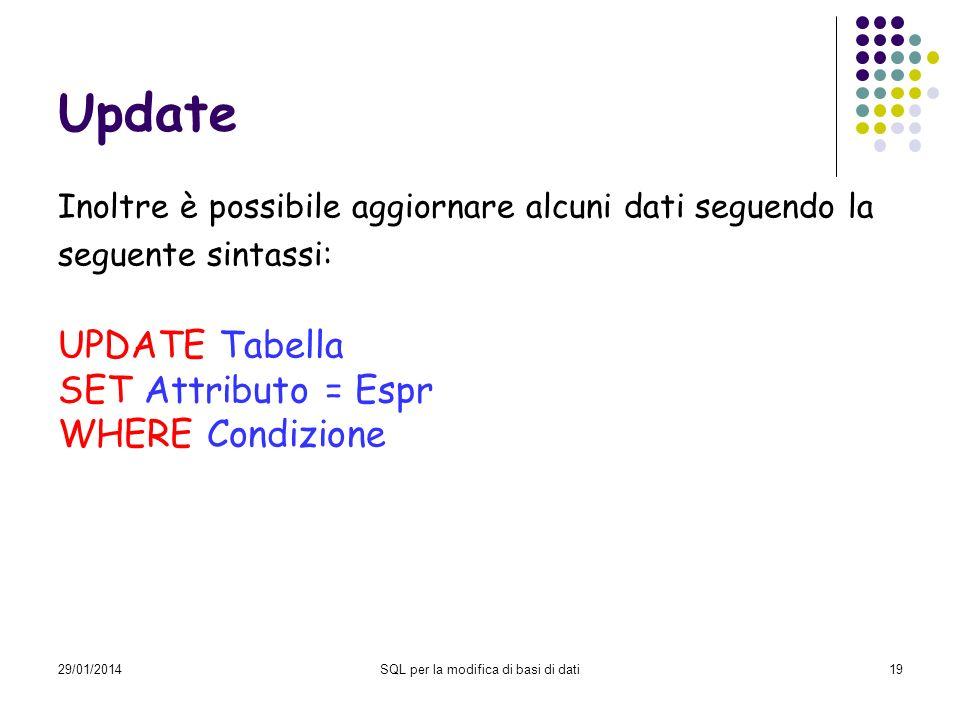 29/01/2014SQL per la modifica di basi di dati19 Update Inoltre è possibile aggiornare alcuni dati seguendo la seguente sintassi: UPDATE Tabella SET Attributo = Espr WHERE Condizione