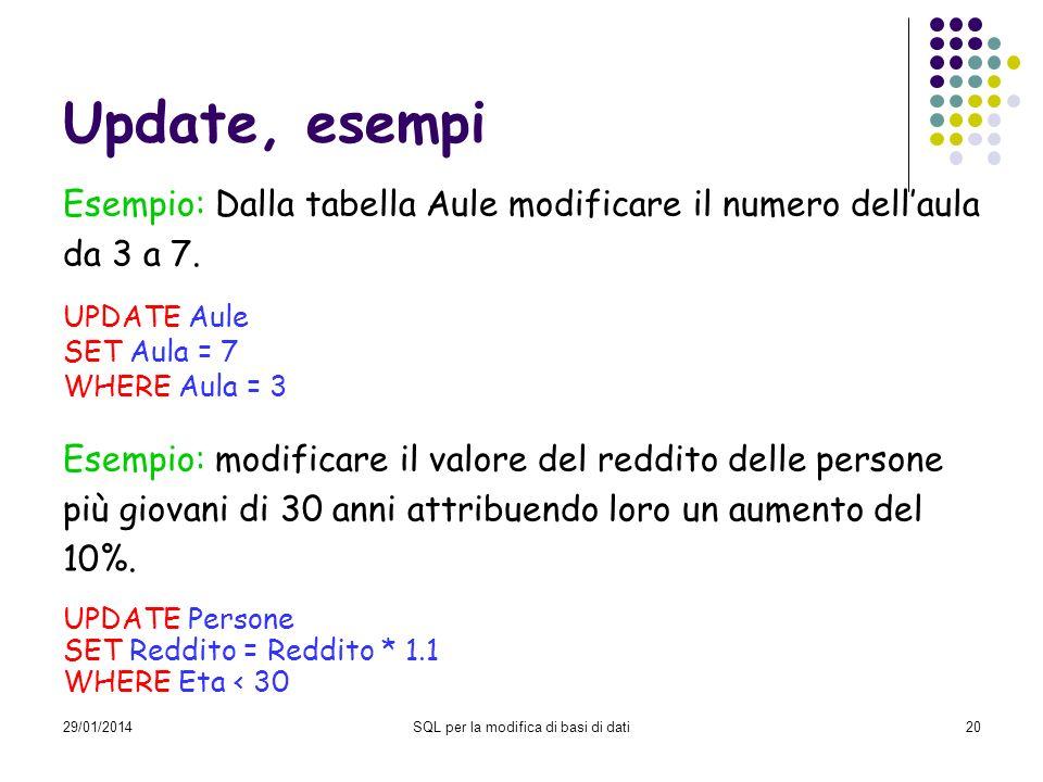 29/01/2014SQL per la modifica di basi di dati20 Update, esempi Esempio: Dalla tabella Aule modificare il numero dellaula da 3 a 7. UPDATE Aule SET Aul