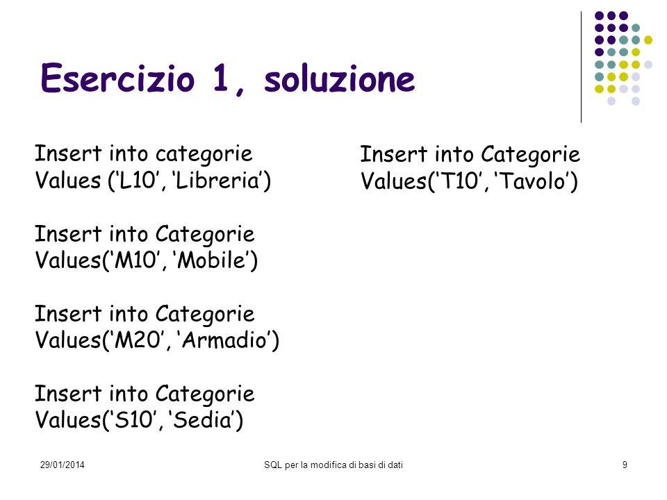 29/01/2014SQL per la modifica di basi di dati10 Esercizio 2 Inserire nella tabella Componenti i valori Com_cod = 0010 Com_descrizione = Montante laterale 100 cm Com_costo = 50.00 Lab_cod = 0010