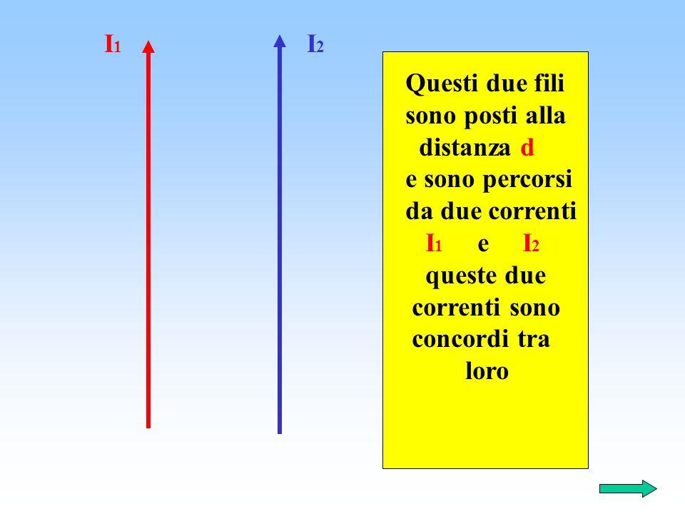 Questi due fili sono posti alla distanza d e sono percorsi da due correnti I 1 e I 2 queste due correnti sono concordi tra loro I 1 I 2