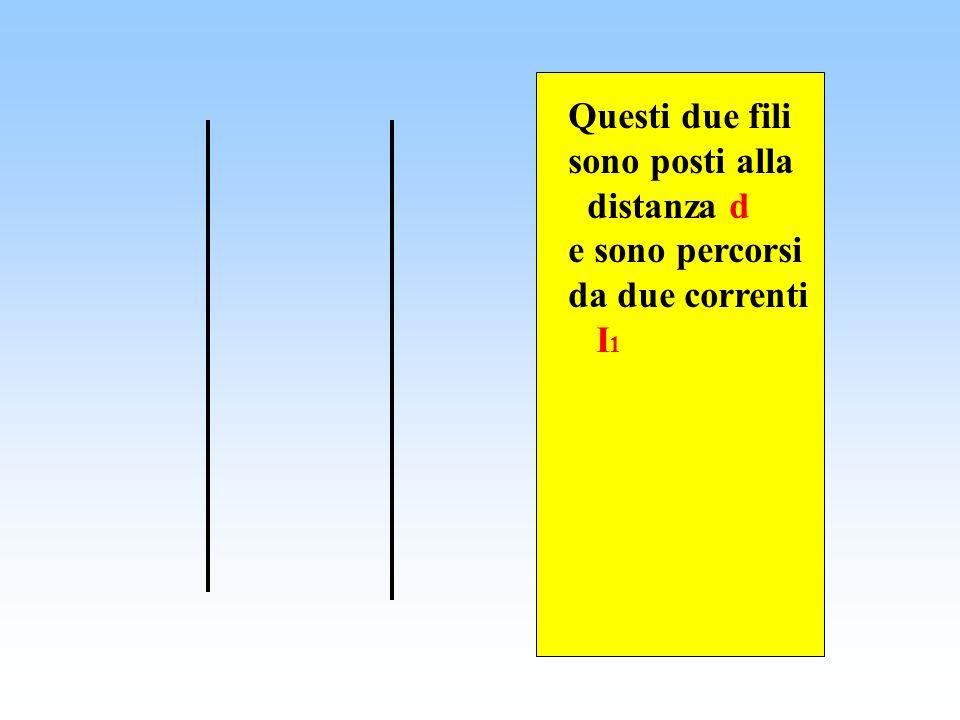 Questi due fili sono posti alla distanza d e sono percorsi da due correnti I 1 I1I1