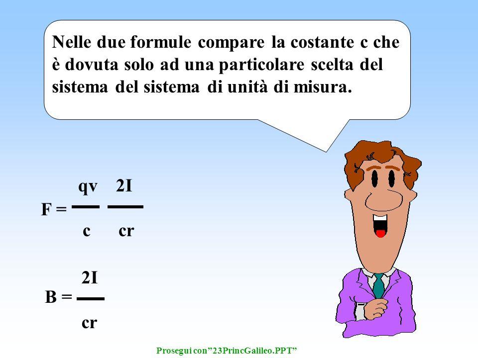 B = 2I cr F = qv 2I c cr Nelle due formule compare la costante c che è dovuta solo ad una particolare scelta del sistema del sistema di unità di misura.