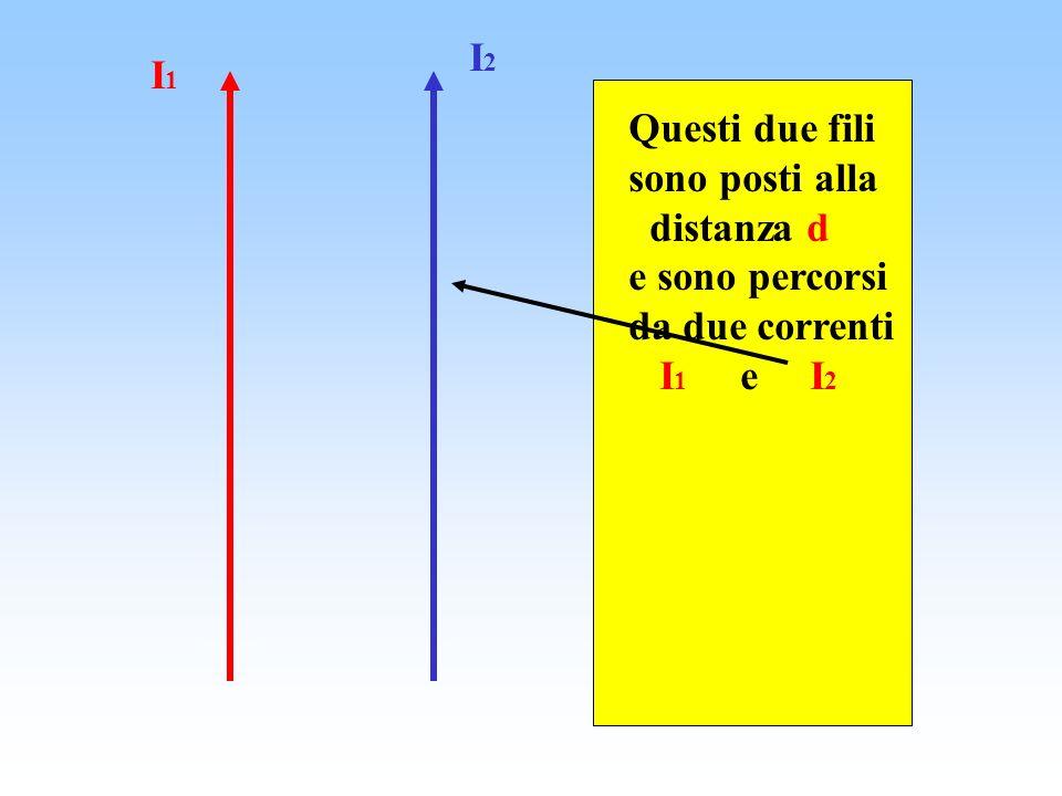 Questi due fili sono posti alla distanza d e sono percorsi da due correnti I 1 e I 2 I2I2 I1I1