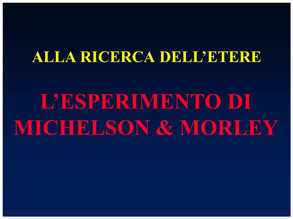 ALLA RICERCA DELLETERE LESPERIMENTO DI MICHELSON & MORLEY