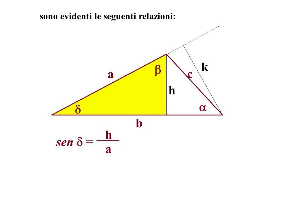 a b c h sono evidenti le seguenti relazioni: k sen = a h