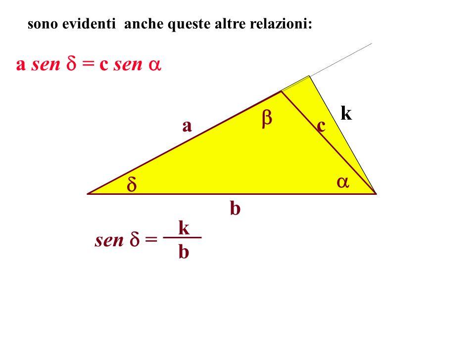 a b c sono evidenti anche queste altre relazioni: k a sen = c sen sen = b k