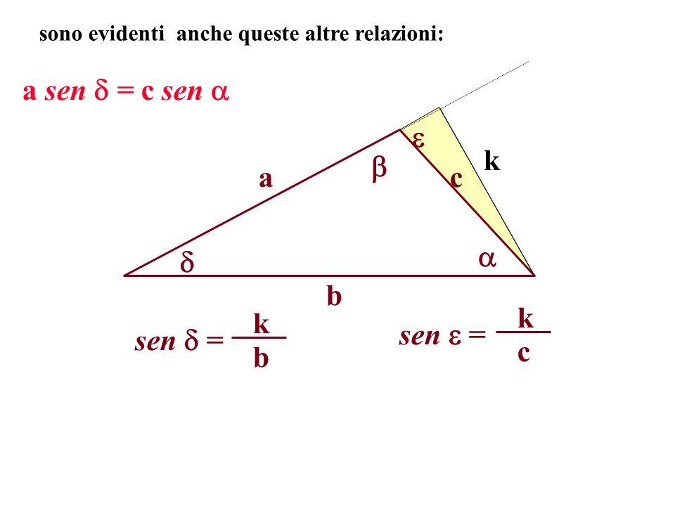 a b c sono evidenti anche queste altre relazioni: k a sen = c sen sen = b k c k